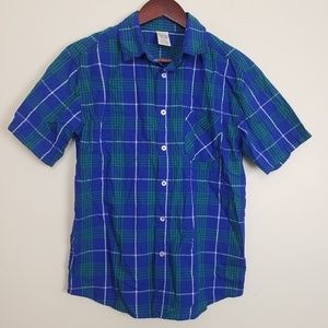 Faded Glory Blue And Green Plaid Button Down Tee